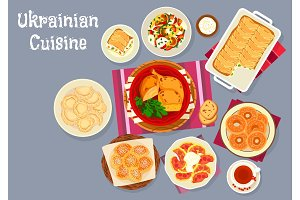 Ukrainian cuisine traditional lunch dishes icon