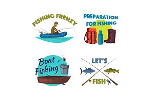 Fishing from a boat cartoon icon set design
