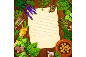 Recipe paper with spices and fresh herbs