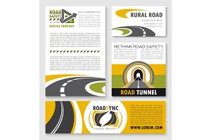 Road poster, banner and flyer template set