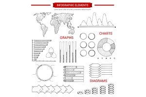 Infographic elements with sketched chart, graph
