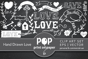 Hand Drawn Love - 65 Vector Icons