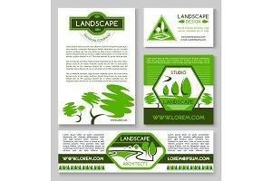 Landscape design business banner template set