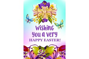 Easter egg and spring flowers greeting card design
