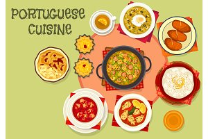 Portuguese cuisine popular dishes icon