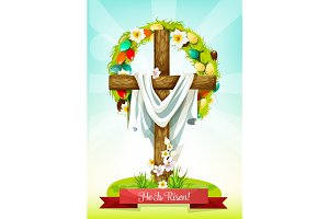 Easter Sunday cross with flower and egg wreath