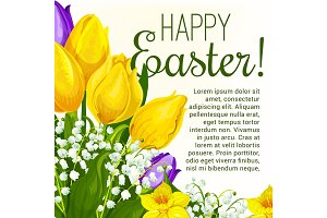 Easter spring flower greeting card with copy space