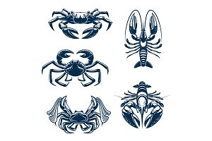 Seafood icon set with crab and lobster