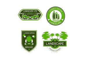 Landscape design studio label set