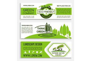Ecology banner template for green business design
