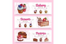 Cake and cupcake desserts banner for food design