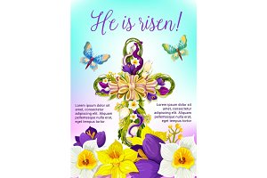 Easter cross with flowers and ribbon card design