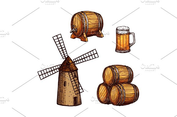 Beer drink isolated sketch set with glass, barrel