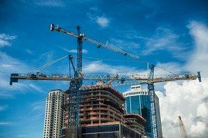 Cranes on skyscraper construction