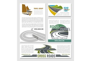 Road travel banner template set for tourism design