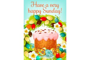 Easter Sunday greeting card with cake and eggs