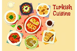 Turkish cuisine tasty lunch icon design