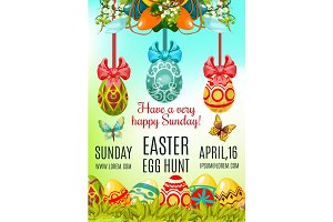 Easter Egg Hunt and Holy Sunday poster template