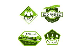 Eco city park label for ecology and nature design