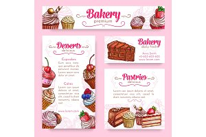 Bakery and pastry desserts banner template set
