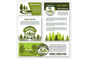 Green company and eco business banner template set