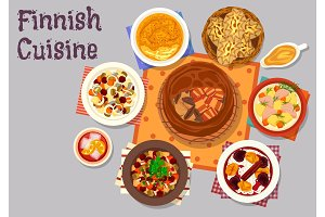 Finnish cuisine traditional dishes icon design