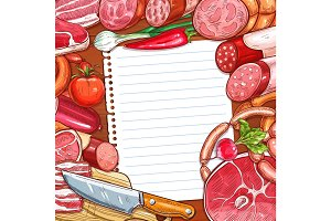 Meat and sausages with recipe or menu blank paper