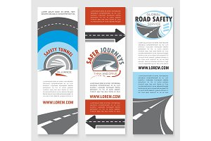Road safety banner template set with highway icons