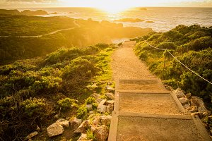 Path to Dramatic Ocean Sunset