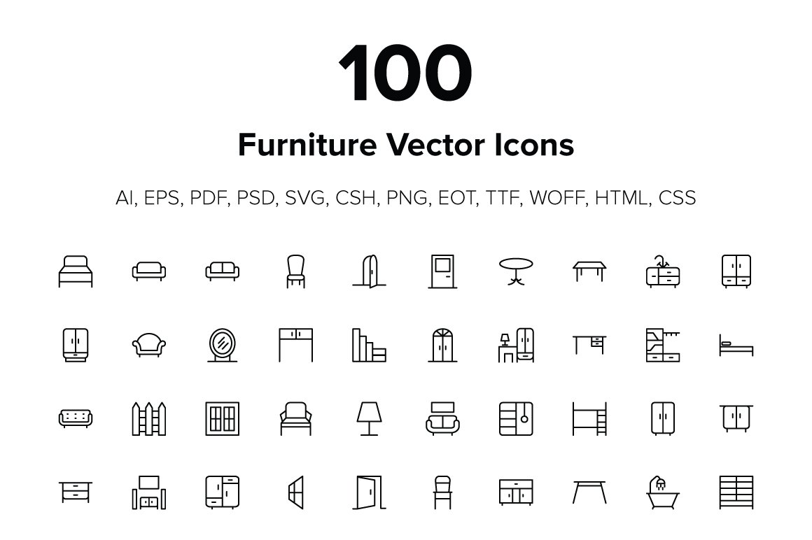 100 furniture icons icons creative market
