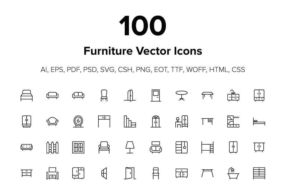 100 Furniture Icons