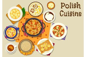 Polish cuisine lunch icon for menu design