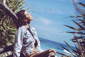girl beach chill
