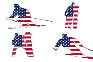 Usa flag ski and snowboarders