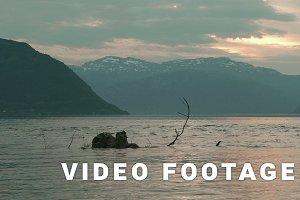 Sunset over the Norwegian fjord