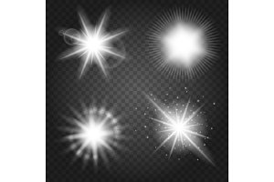 Stars set on transparent background