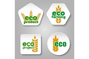 Eco grain product logo set