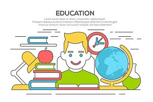 learning and education flat concept