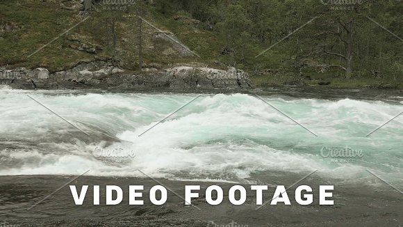 Stormy mountain river in the Norway in Graphics
