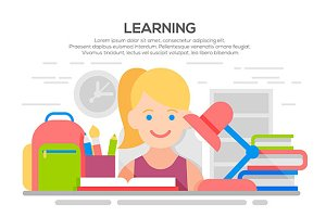 education, learning process banner