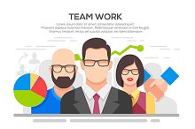 Team work concept flat illustration