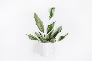 Mug with leaves