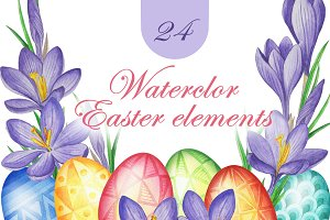 Happy Easter Watercolor Eggs