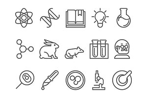 science and research line flat icons