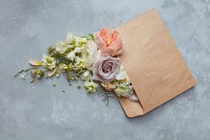 Romantic envelope with flowers