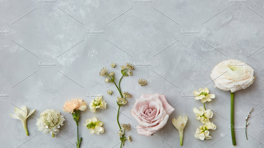 Composition of flowers on grey background nature photos creative composition of flowers on grey background nature photos creative market mightylinksfo