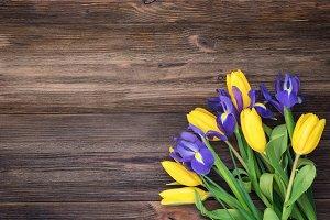 Yellow tulips and irises