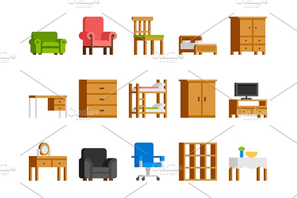 Home and office furniture flat icons