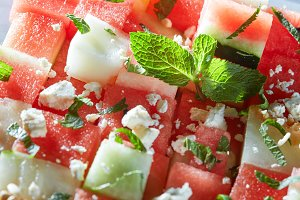 watermelon slices with cottage cheese
