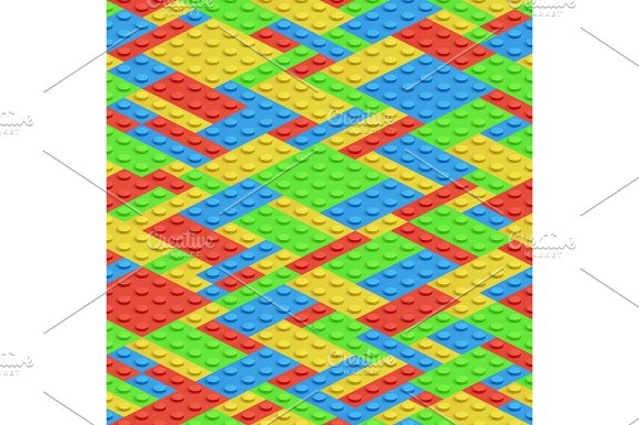 Plastic Building Blocks 3D Bricks Vector Seamless Pattern